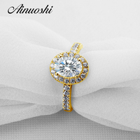 AINUOSHI Trendy Oval Halo Ring 14K Solid Yellow Gold Wedding Pave Setting 1.25 ct SONA Diamond Wedding Engagement Ring for Women