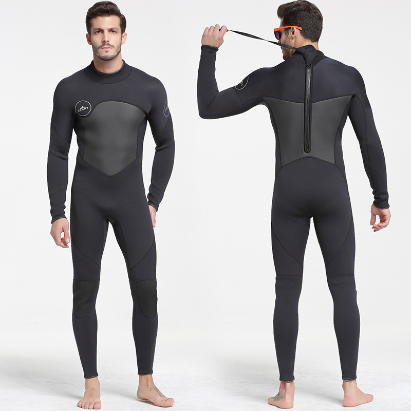 SBart Men 5mm one piece neoprene full-body diving suits with warm wetsuit surfing suit black swim wears keep warm back zip