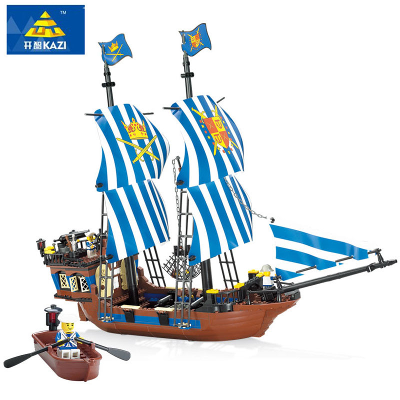 KAZI  608pcs Pirates Armada Flagship  Building Blocks Brinquedos Caribbean Warship Sets The Black Pearl Compatible With bricks 1717pcs new 22001 pirates of the caribbean imperial flagship diy model building blocks big toys compatible with lego