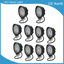 10pcs 4 inch led work lamp 12v 24v 27w led work light spot/flood beam Offroad Driving Light Off Road led car work light 12v DC