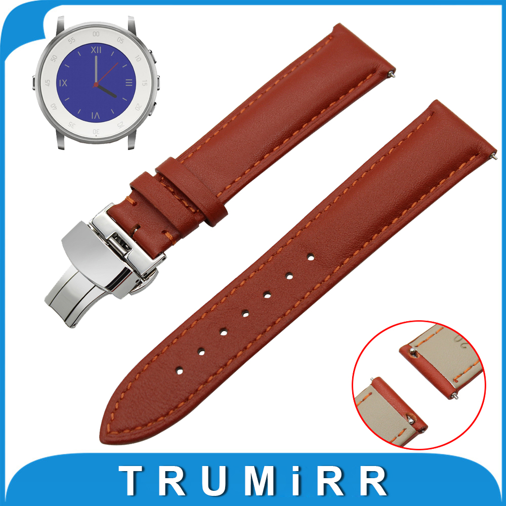 Genuine Leather Watch Band Quick Release Strap for Pebble Time Round 20mm / Bradley Timepiece Butterfly Buckle Wrist Bracelet genuine leather watch band 22mm for pebble time steel stainless pin buckle strap quick release wrist belt bracelet black brown