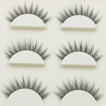 New 1 box 3 pairs Natural Long Eye Lashes 3D Multi-layer Curling Cross False Eyelashes Daily Dating Makeup Tools Fake Eyelashes 1