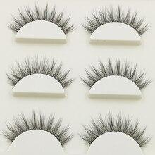 Faux cils naturels longs 3D, multicouches bouclés, croisés, datation quotidienne, outils de maquillage, nouveauté, 1 boîte 3 paires