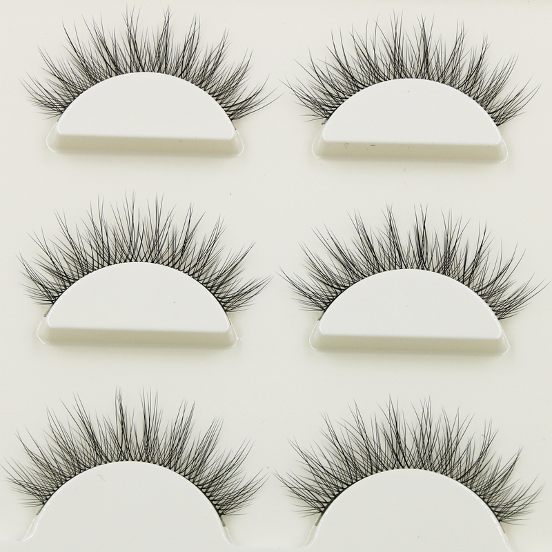 New 1 Box 3 Pairs Natural Long Eye Lashes 3D Multi-layer Curling Cross False Eyelashes Daily Dating Makeup Tools Fake Eyelashes