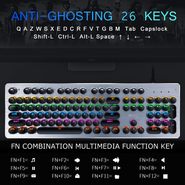 Gaming Mechanical Keyboard USB Wired Anti-ghosting Metal Panel Colorful Backlight Keyboard Crystal Plating Keys Russian Sticker 4