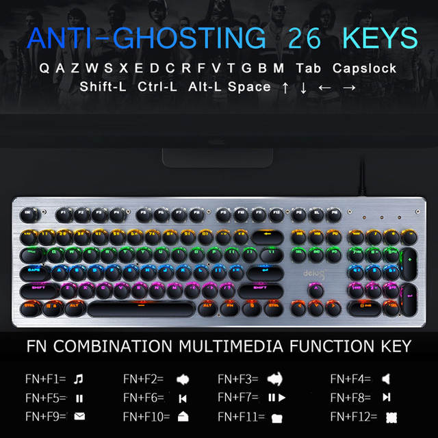 Gaming Mechanical Keyboard USB Wired Anti-ghosting Metal Panel Colorful  Backlight Keyboard Crystal Plating Keys Russian Sticker