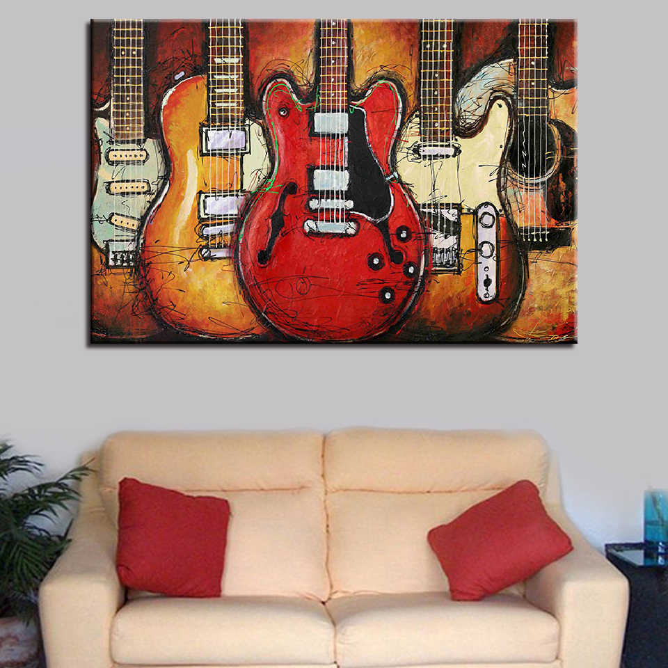 Decoration Posters Modern Wall Art HD Printed Pictures 1 Piece/Pcs Guitar Musical Instruments Home Frame Living Room Painting