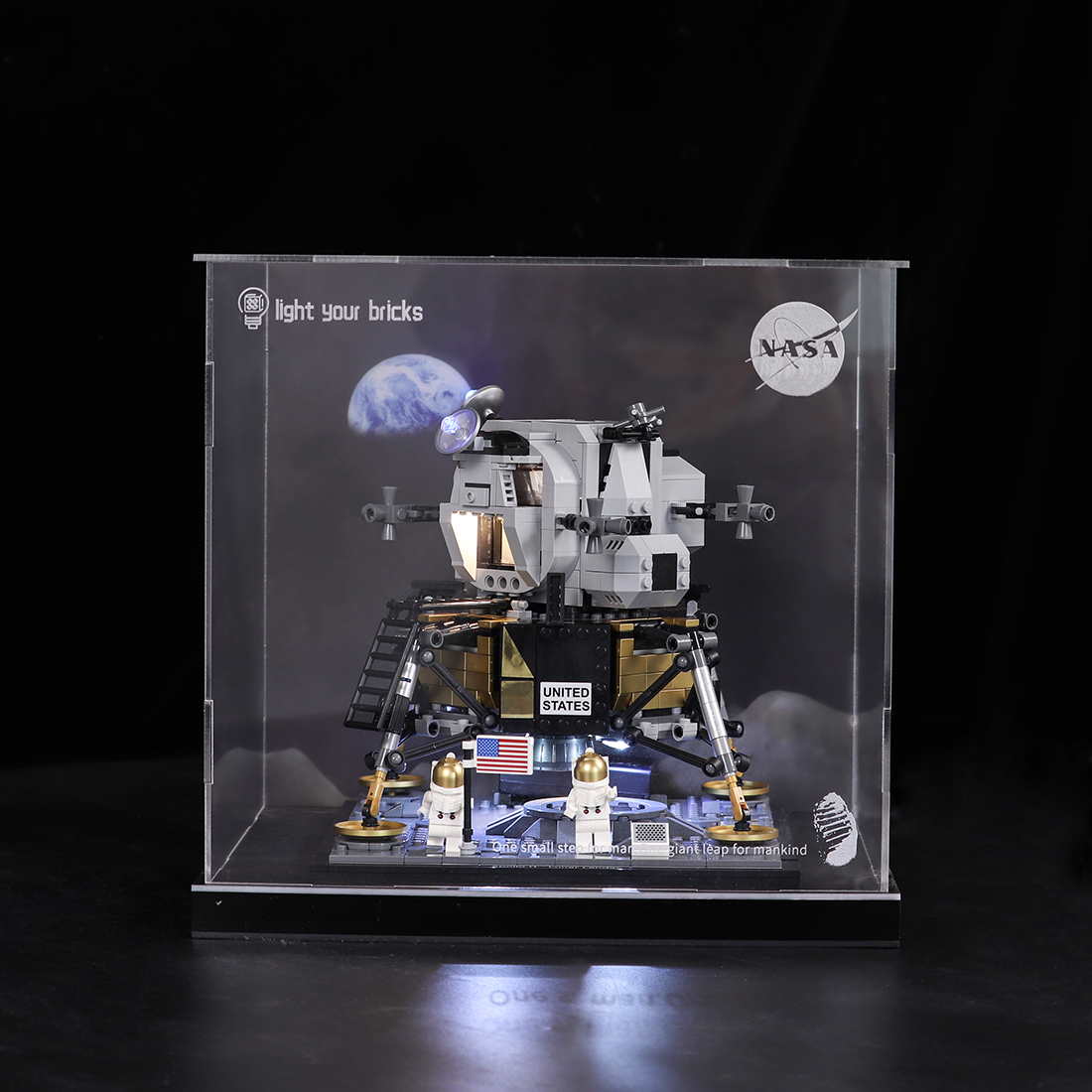 Acrylic Display Show Box with Cover for Apollo Saturn 11 Moonlight Cabin 10266 Transparent Inkjet Type