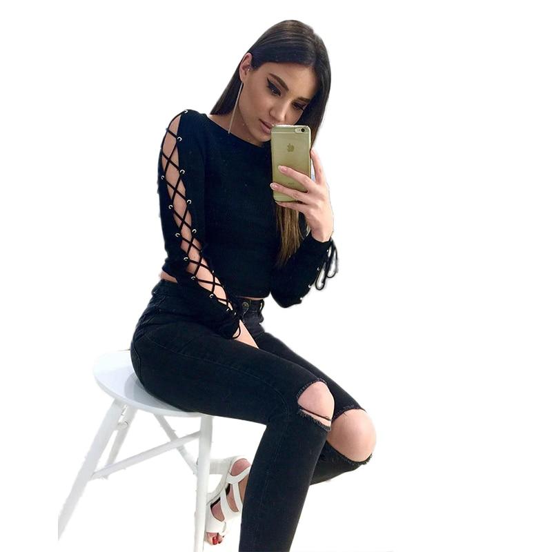 New 2017 Fashion Women Summer Hollow Out Bandage Long Sleeve Short Shirt Crop Casual Tops T-Shirt Black