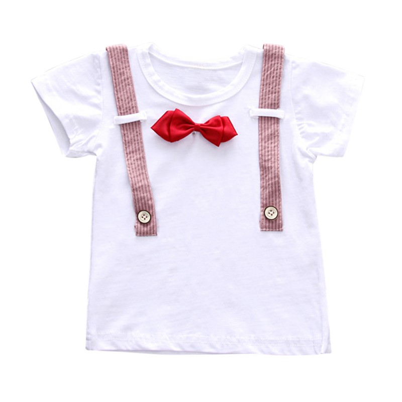 Baby Boys Gentleman Colthing Set T-shirt Bowtie Kids Clothes Boy T-shirt Stripe Shorts Baby Clothes Summer Boy T Shirt