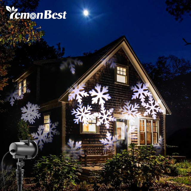 12 types 8w led snowflake effect lights outdoor christmas light projector garden xmas tree decoration landscape - Led Projector Christmas Lights