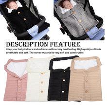 цена на Newborn Baby Winter Warm Sleeping Bags Infant Button Knit Swaddle Wrap Swaddling Stroller Wrap Toddler Blanket Sleeping Bags