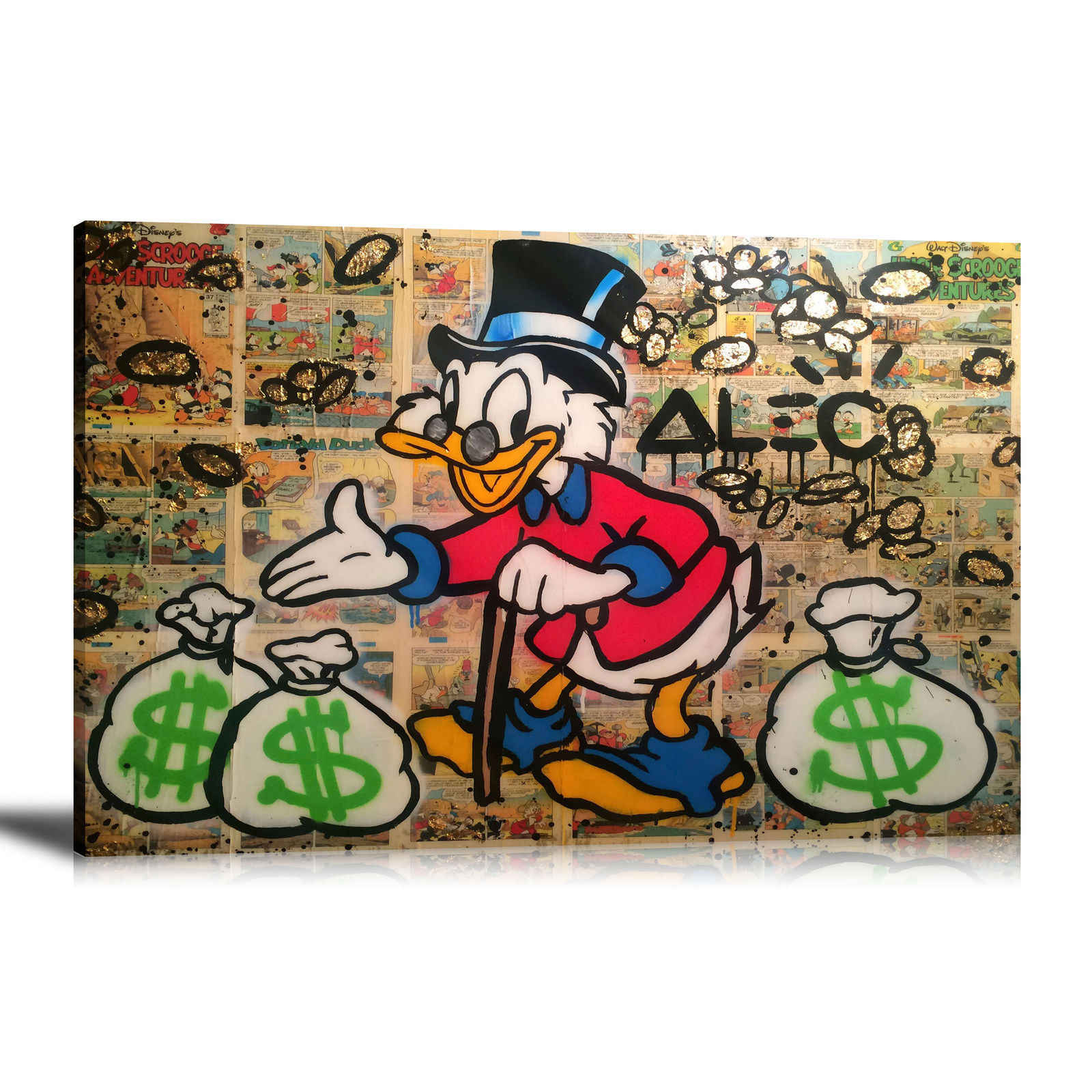 Alec Monopolys Zio Scrooge Astratta di Arte Della Parete Della Pittura A Olio Poster Tela di Canapa Pittura Stampa Immagini per Living Room Complementi Arredo Casa