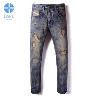 Newly Fashion Mens Jeans Autumn Winter Thick Model Retro Design Ripped Jeans For Men Slim Fit