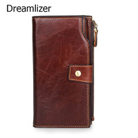 Dreamlizer Trifold Vintage Cowhide Leather Men Wallets Fashion Purse With Card Holder Vintage Long Clutch Bag