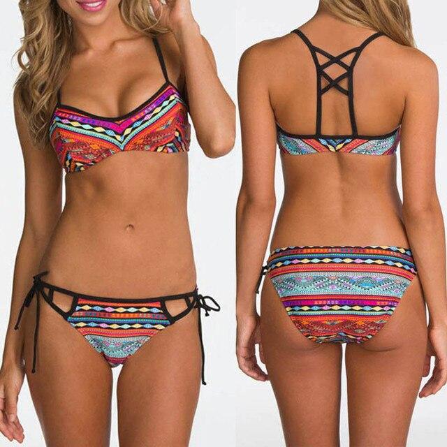 0b23128e33c5 € 3.46 25% de DESCUENTO|Traje de baño mujer 2017 Nuevo Sexy Pacthwork  Bikini Set mujeres Push up Vintage traje de baño brasileño ropa de playa ...