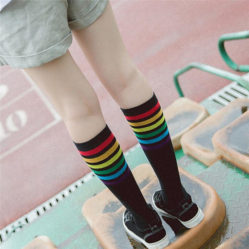 Chic Cotton Knee High Women Socks Stripes School Style White Socks Skate Children Long Tube Leg For Girls Boys