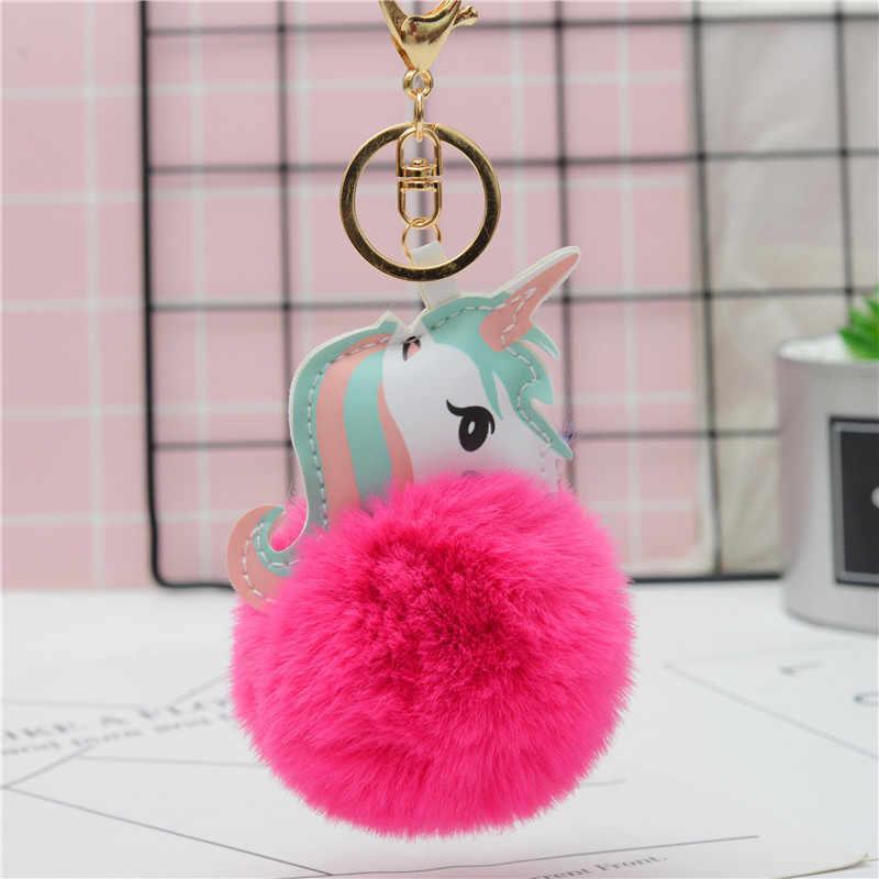 Pele De Coelho Bola Pompom Keychain Unicórnio Cavalo chaveiro porte clef Saco Carro Chaveiro chaveiros llavero mujer Para As Mulheres