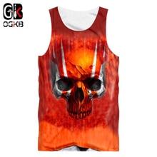 OGKB Vest Women/Mens Cool Print Red Skull 3D Tank Top Sleeveless Shirt Male Sportswear Undershirt Summer Casual Tops Tee