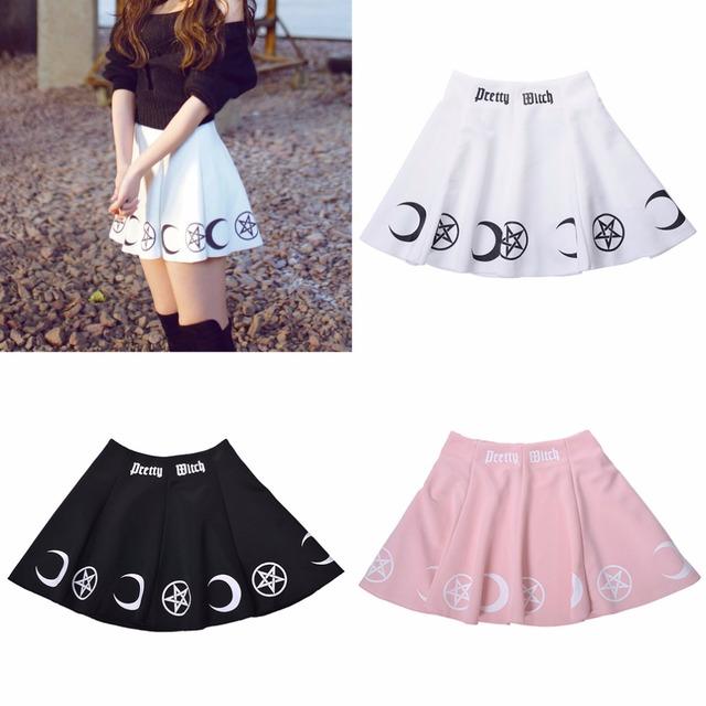 Mujeres Lolita Harajuku Imprimir Faldas Círculo Mágico de la Bruja Estrellas Luna de Impresión Muchachas de La Falda del Patinador de La Falda Blanco Negro