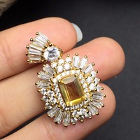 Fine Jewelry S925 solid sterling silver 100% Natural Citrine Gemstone Female Pendant Necklace for women fine pendant necklaces