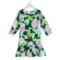 Autumn Flower Girls Dress Children Princess Dresses For Party Brand Baby Three Quarter Sleeve Clothes High