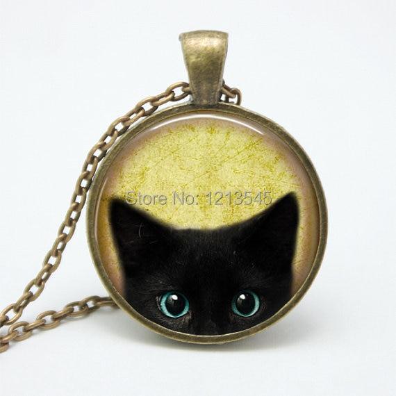 Vintage black cat glass font b pendant b font font b necklace b font personality pendnat