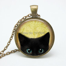 Vintage black cat glass pendant necklace personality pendnat Art picture necklace for women jewelry FTC-N216