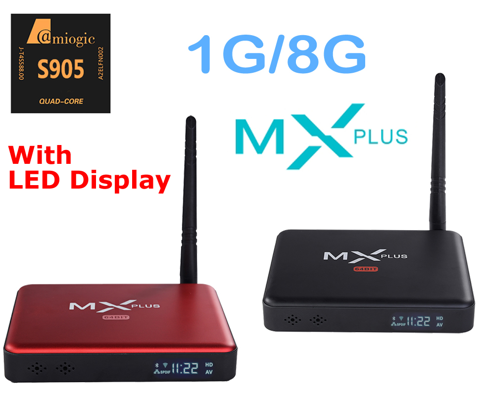 MX Plus II Android TV Box Quad Core Amlogic S905 1G/8G ROM Smart TV Box LED display KODI 14.2 full loaded Airplay APK & ADD-ONS m8 fully loaded xbmc amlogic s802 android tv box quad core 2g 8g mali450 4k 2 4g 5g dual wifi pre installed apk add ons