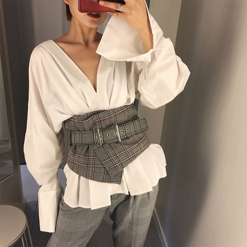 Fashion Ladies Vintage Check Style Waist   Belt   Super Wide Fabric Adjustable Shirt Slimming Corset Cummerbund Girdle   Belt   Women