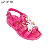 Mini Melissa 2019 NEW Roman Unicorn Girl Jelly Sandals Kids Sandals Melissa Children Sandals Beach Shoes Non slip