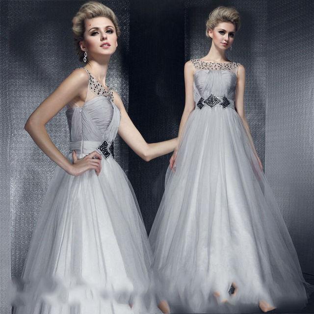 b5f636fc26c 2016 Simple Design A Line Luxury Elegant Gray long Evening Dresses Black  Tulle Sleevless Floor Length cheap party gowns BK18