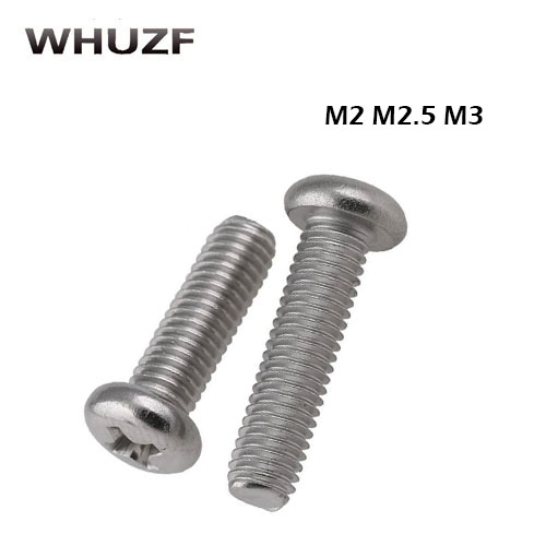 2.5mm screw self tapping 50pcs M2/2.5/3 Stainless Steel Round pan head machine * 3/4/5/6/8/10/12-30mm DIN7985