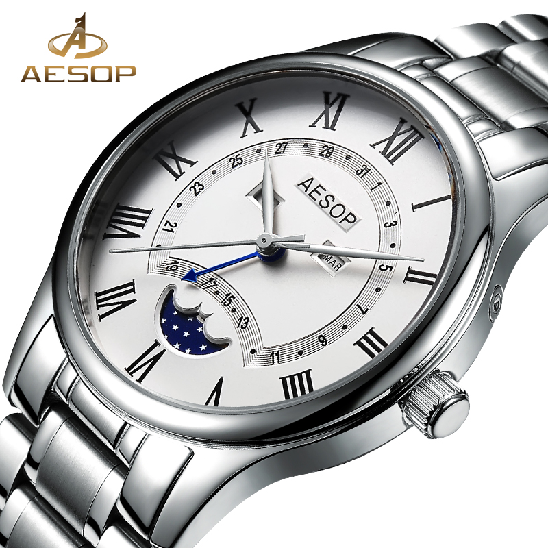 цена на AESOP Fashion Watch Men Moon Phase Quartz Wrist Wristwatch Stainless Steel Male Clock Waterproof Relogio Masculino Hodinky 27