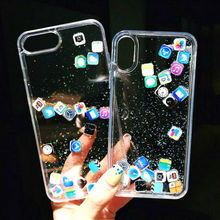 App Icon Quicksand Clear Case For iPhone X 6 6s 7+ 8 Glitter Liquid Cover Shell Transparent