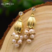 GLSEEVO Natural Fresh Pearl Tassel Drop Earrings For Women Flower Plant Handmade Dangle Earrings Luxury Jewelry Wholesale GE0300