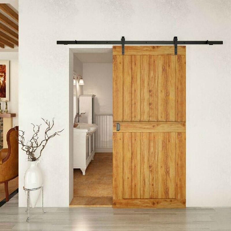 Best Price Modern Interior Doors Domestic Sliding Barn Wood Door Hardware  Steel Country Style Black Barn Door Hardware Track Kit In Doors From Home  ...