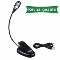 Book Light Recharge Booklight Led Ebook Mini Flexible Bright Clip Reader Reading Lamp Kindle Nook 1Arm