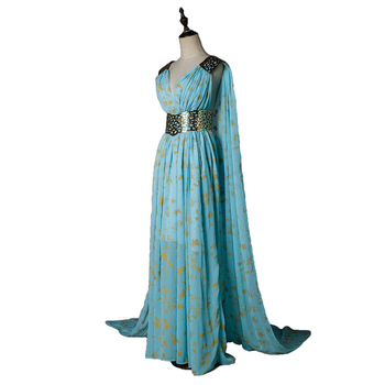 Game Of Thrones Daenerys Targaryen Dress Cosplay Costume A Song of Ice and Fire Blue Wedding Halloween Party Fancy Balldown