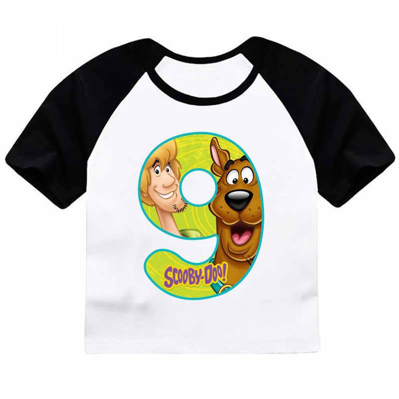 ZSIIBO เด็กชายเด็กหญิงการ์ตูน Scooby Doo หมายเลข 1-9 พิมพ์ T เสื้อฤดูร้อนเสื้อยืดเด็กตลกวันเกิดปัจจุบัน CX6L101