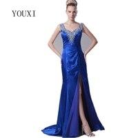 Elegant Royal Blue Mother Of The Bride Dresses 2017 New Arrivals Sexy Side Slit Mermaid Formal