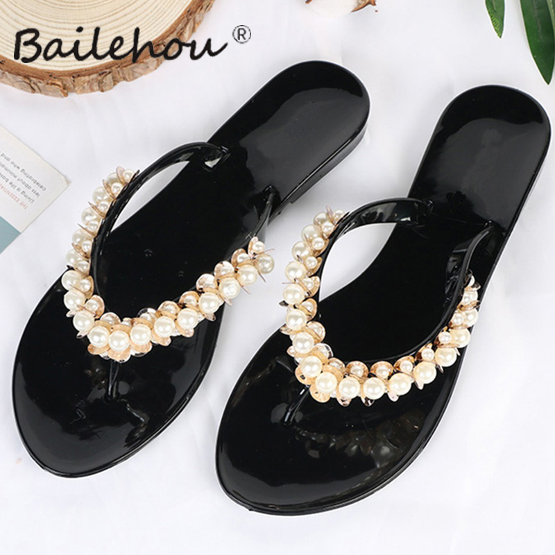 все цены на Bailehou Women Slippers Summer Beach Flip Flops Sandals Women Pearl Fashion Slides Slippers Home Female Ladies Flats Shoes Woman онлайн