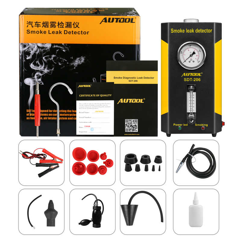AUTOOL SDT-206 Car Smoke Leak Detector Smoke Machines Leak Locator  Automotive Diagnostic Exhaust Smoke Meter Of Pipe Systems