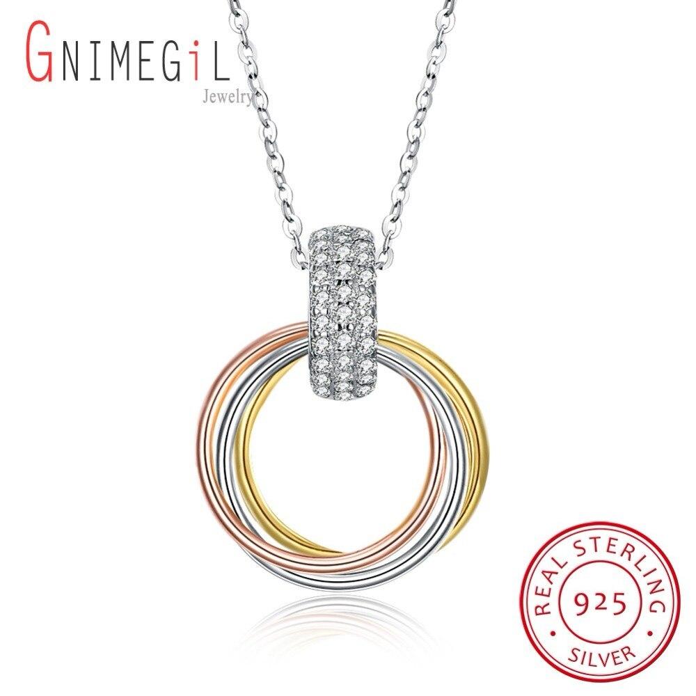 6ae83551b210 GNIMEGIL oro Color collar 925 collar Accesorios Mujer eternidad  enclavamiento joyería collar de aro colgante