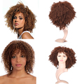 Cheap Wig Short Synthetic Wigs For Black Women ShortBrown Wigs Kinky Curly Harley Quinn Wig Peluca Perruque Synthetic Women
