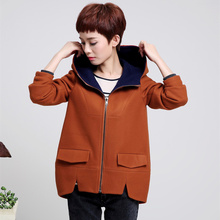 Wool blends coat middle age women plus size M-4XL thick hooded jacket 2017 new autumn