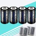 4 unids 8000 mAh 1.2 v pilas recargables de tamaño D para luz de flash radio refrigerador cocina de gas con 2 unids caja de la batería