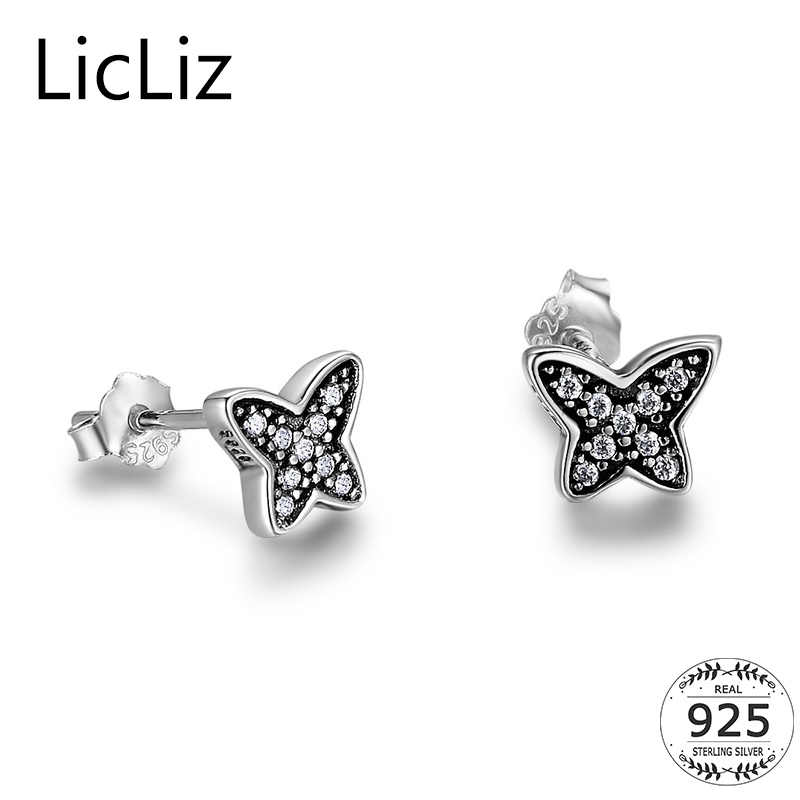 Licliz Small 925 Sterling Silver Butterfly Stud Earrings Women Micro Paved Cubic Zirconia Insect Post Earrings Ear Studs LE0406