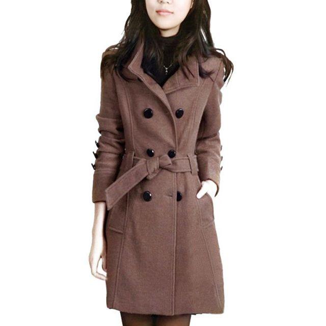 Корейских Женщин Шерстяные Пальто Тонкий Двойной Грудью Пальто Теплое Пальто Женщины Длинные Негабаритных Верхняя Одежда X3
