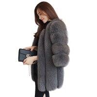 高品質ノーブルエレガントナチュラルフォックス毛皮のコート上着女